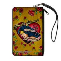 Studded Wonder Woman Heart Strength And Beauty Tattoo Roses Gold Canvas Canvas Zipper Wallet