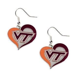 Virginia Tech Hokies Swirl Heart Dangle Logo Earring Set Charm Gift NCAA