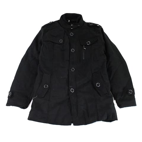 Wantdo Mens Jacket Black Size Large L Quilt-Lined Military Button-Zip