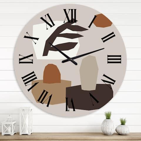 Designart 'Minimal Elementary Organic and Geometric Compostions in Nature Tones IV' Modern wall clock