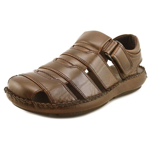 GBX Cayman Men Round Toe Leather Brown Fisherman Sandal