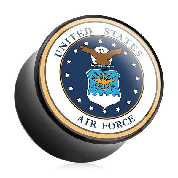 U.S. Air Force Logo Print Inlayed Black Acrylic Plug (Sold Individually)
