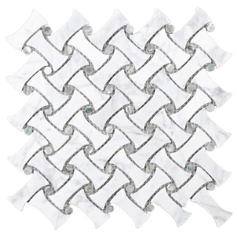TileGen. Cross Wave Bone Marble with Mother of Peal Grey Dot Mosaic Tile in White Wall Tile (10 sheets/8.5sqft.)