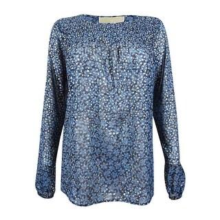 MICHAEL Michael Kors Women's Metallic Print Top (XS, Blue Indigo/Gold) - blue indigo/gold - xs