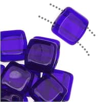 CzechMates Glass 2-Hole Square Tile Beads 6mm - Cobalt Blue (1 Strand)