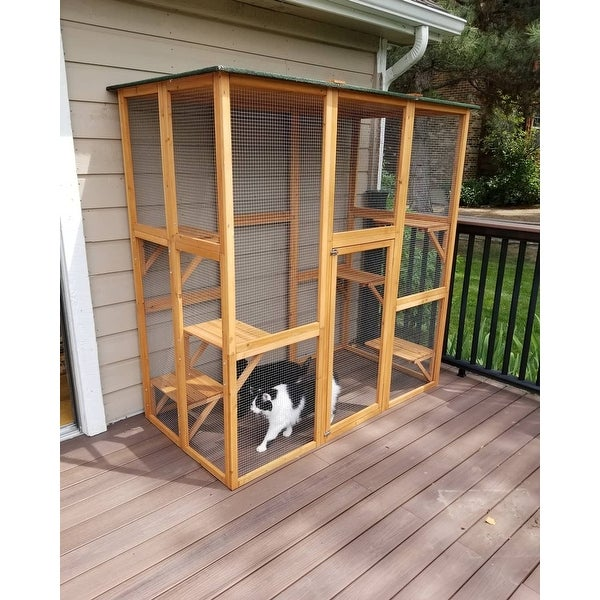 Shop Large Wooden Outdoor Cat Enclosure Cage 71 L X 38 5 W X 71 H On Sale Overstock 22503163