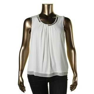 Calvin Klein Womens Embellished Pleated Casual Top - XL