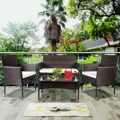 TOPMAX 4 PC Outdoor Garden Rattan Patio Furniture Set