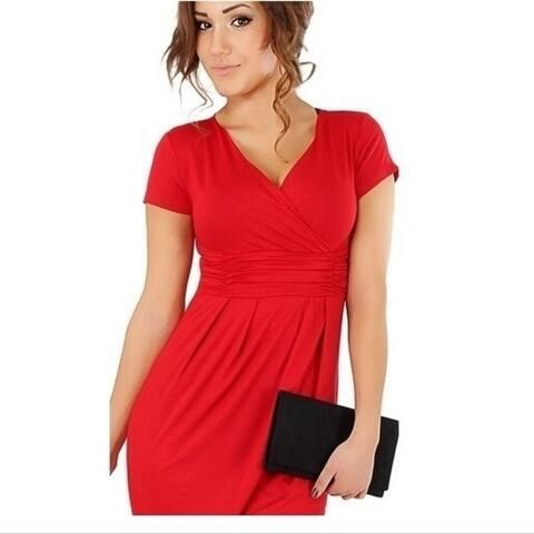 Women's Fashion European Style Slim Hip Package V Collar Sexy Dress