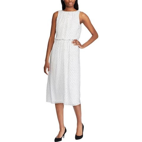 American Living Womens Plus Andrilla Midi Dress Dot Print Blouson - White Multi