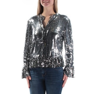 INC $119 Womens New 1276 Silver Sequined V Neck Bell Sleeve Button Up Top M B+B