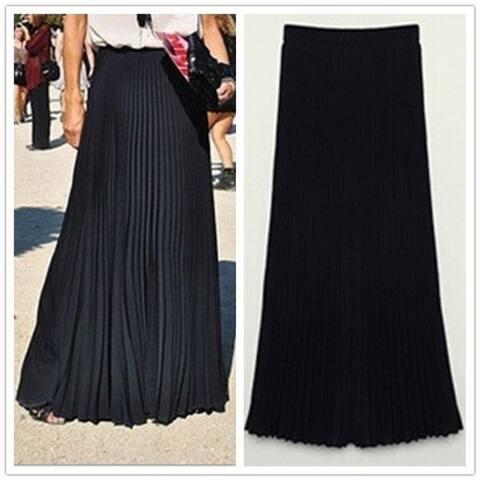 Feelingirl Plus Size Spring Summer Fashion Women Long Chiffon Skirts Female Candy Color Pleated Maxi Womens Skirts Bohemian