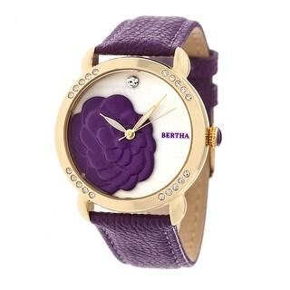 Bertha Daphne Women's Quartz Watch, Genuine Leather Band, Luminous Hands