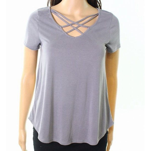 Moa Moa Silver Womens Medium Strappy-Neck Knit Top