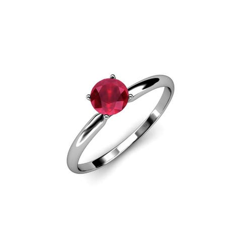 TriJewels Round Ruby 1/2 ct Womens Solitaire Engagement Ring 14K Gold