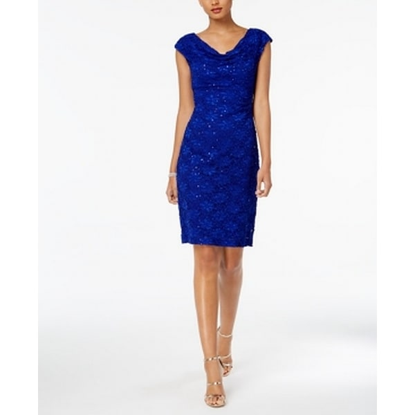 Connected Apparel Blue Women 14 Metallic Cap Sleeve Cowl Neck Dress