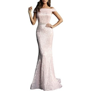 Link to Jovani Women's Sequined Off The Shoulder Mermaid Sweep Train Prom Dress Similar Items in Dresses