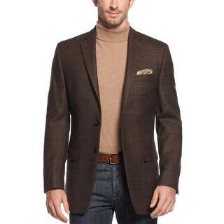 Ralph Lauren RL Brown Wool Plaid Sportcoat 38 Regular 38R Two Buttons