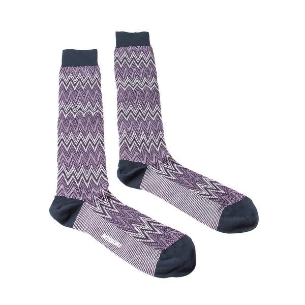 Missoni GM00CMU5242 0002 Purple/Navy Knee Length Socks