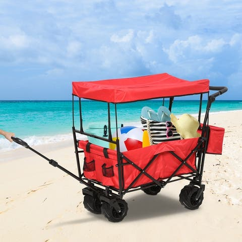 DURHAND Collapsible Folding Utility Garden Cart Wagon with Adjustable Push/Pull Handle, Canopy & All-Terrain Wheels
