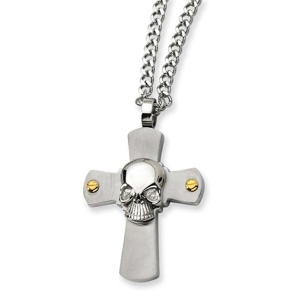 Chisel Stainless Steel Skull on Cross Necklace (4 mm) - 24 in