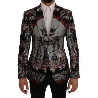 Dolce & Gabbana Multicolor Dragon Print Silk Slim Fit Blazer Jacket