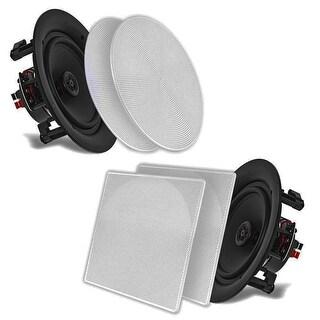 "Pyle 10"" In-Wall / In-Ceiling Dual Stereo Speakers 250 Watt 2-Way Flush Mount White (Pair)"