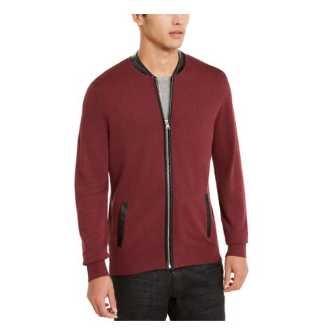 INC Mens Maroon Zip Up Jacket XXL