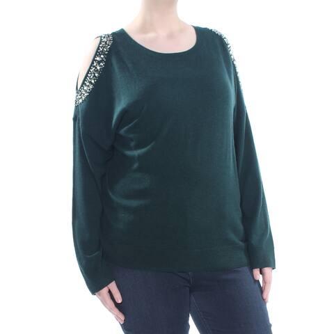 INC Womens Green Cold Shoulder Wool Blend Rhinestone Long Sleeve Sweater Plus Size: 3X