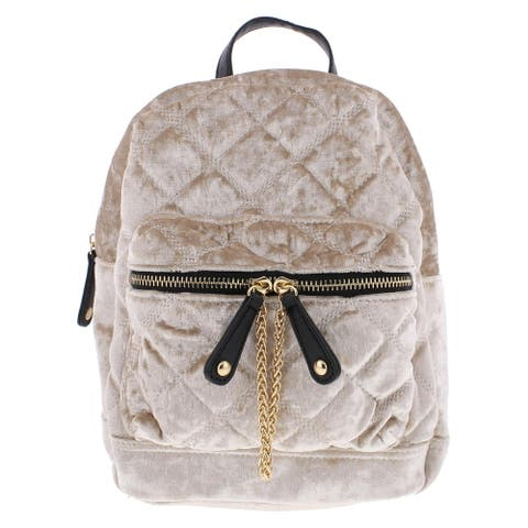 Urban Expressions Womens Backpack Velvet Quilted - Natural - Medium