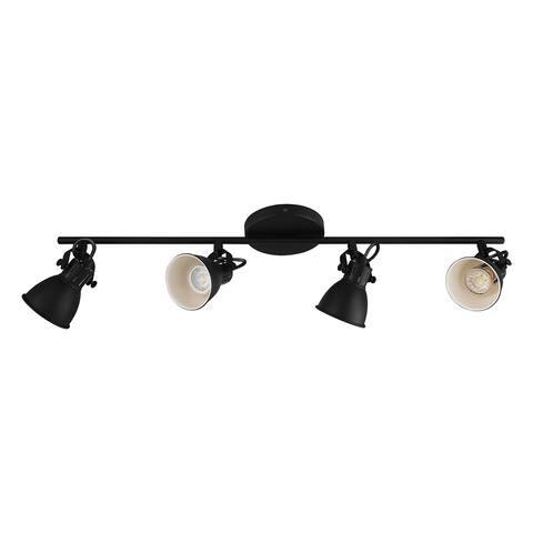 Eglo Seras 2 Black 4-Light Track Light with Black Exterior, White Interior