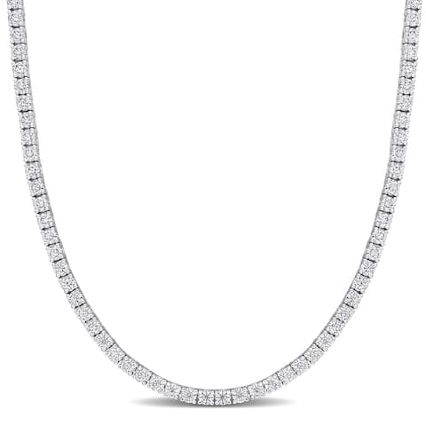 Miadora Sterling Silver 5 1/10ct TGW Created White Moissanite Tennis Necklace