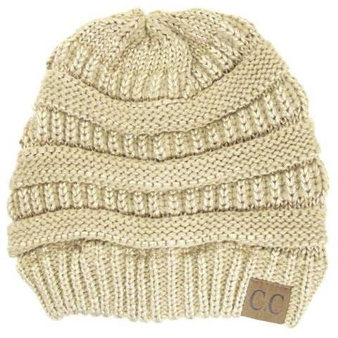 Gravity Threads CC Knit Soft Stretch Beanie Cap, Metallic Gold