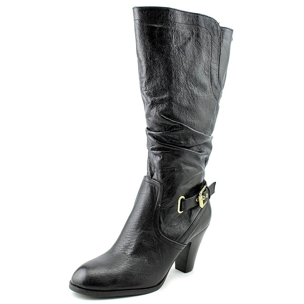 Guess Mallay Wide Calf Women Round Toe Leather Black Knee High Boot