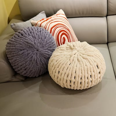 1pc Home Decorative Chenille Chunky Knit Pillow Cushion for Sofa orBed