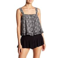 Free People Black Womens Size Large L Sweet Caroline Tiered Tank Top