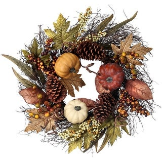 "Waterproof Pumpkin Berry Maple Leaf Twig Wreath 24""-"