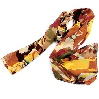 Unique Bargains Woman Horses Green Brown Red Chiffon Rectangle Neck Wrap Long Scarf Shawl