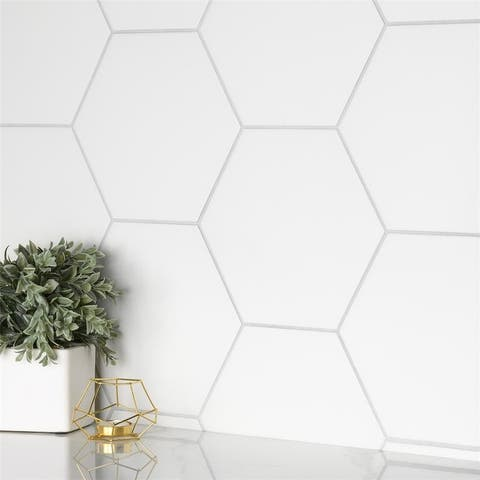 """SomerTile Apini Hex Matte White 9"""" x 11""""Porcelain Mosaic Floor and Wall Tile"""
