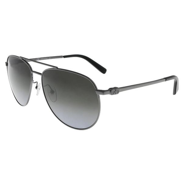 f8070d07947e Salvatore Ferragamo SF157S 069 Shiny Ruthenium Aviator Sunglasses - 60 -15-140
