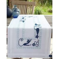 """Cheerful Cats Table Runner Stamped Embroidery Kit-16""""X40"""""""