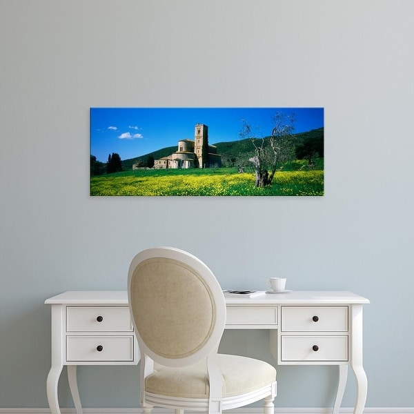 Easy Art Prints Panoramic Images's 'Monastery in a field, San Antimo Monastery, Tuscany, Italy' Premium Canvas Art
