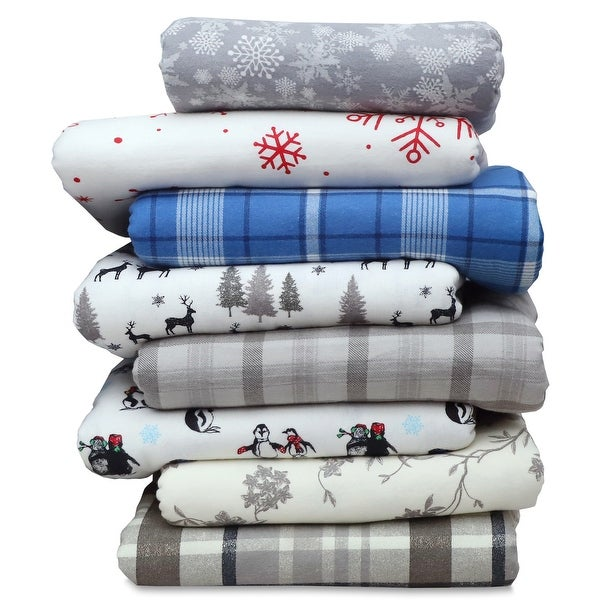 EnvioHome Heavyweight Cotton Flannel Bed Sheet Set & Pillow Cases. Opens flyout.