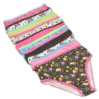 Lil' Vicky's Girls Multi Color Star Print 10-Pack Bikini Underwear