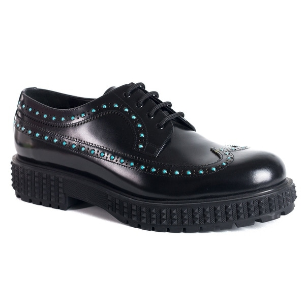 Valentino Men Black Leather Blue Rolling Stud Punky Ch Derby