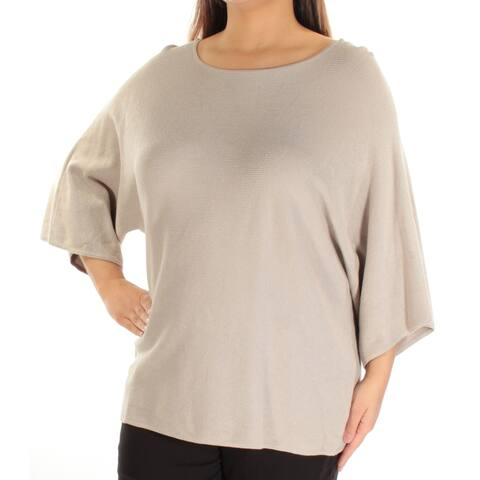 ALFANI Womens Gray Textured 3/4 Sleeve Jewel Neck Sweater Size L