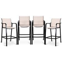 Costway 4 PCS Counter Height Stool Patio Chair Steel Frame Leisure Dining Bar Chair - Beige