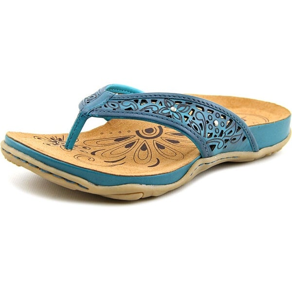 Earth Maya Women Open Toe Leather Blue Thong Sandal