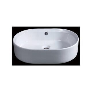 "Eago BA132 21-5/8"" Rounded-Corner Vessel Bathroom Sink - White"