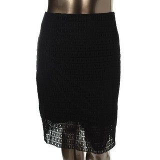 Calvin Klein Womens Plus Crochet Open Stitch Pencil Skirt - 18W